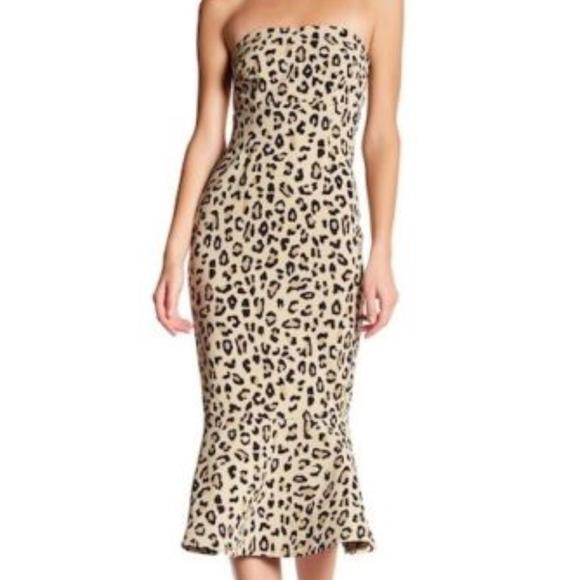 cinq a sept Luna Leopard Strapless Mermaid Dress eb982bf94